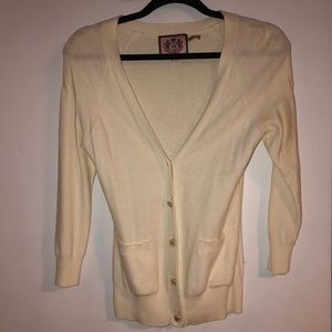 Juicy Couture Off-White V-Neck Cardigan Sweater